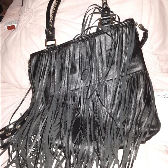Steve Madden Handbags - Steve Madden Black Leather Fringe Purse/Handbag